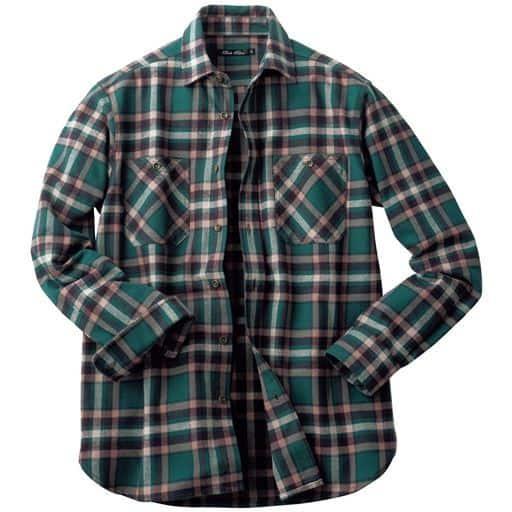 綿100%チェック柄ヘビーツイル素材の両胸ポケット付きデザインシャツ