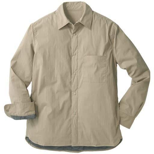 中綿にサステナブルなPET再生糸を使用、撥水・ストレッチ素材シャツジャケット