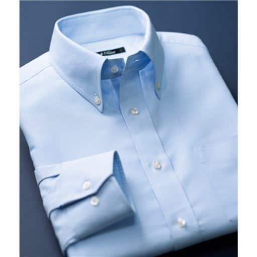ネクタイをしなくてもきちんと見える形態安定ボタンダウンYシャツ(長袖)