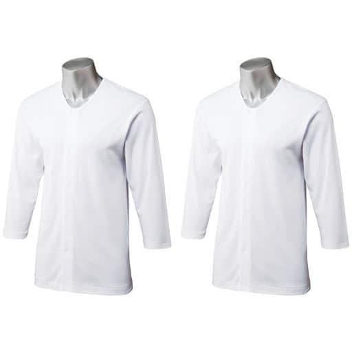 8分袖前開き丸首シャツ(2枚組)