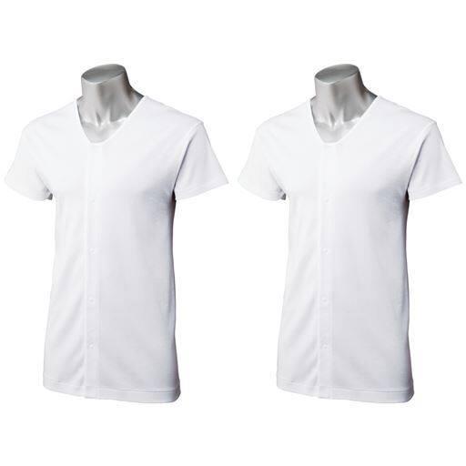 半袖前開き丸首シャツ(2枚組)
