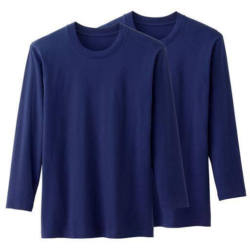 2枚組 男の綿100%クルーネックTシャツ(長袖)