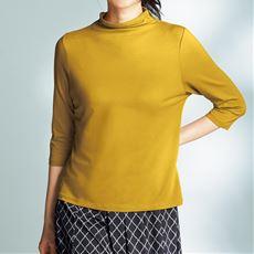 テンセル™繊維混ボトルネック七分袖Tシャツ(日本製)