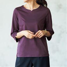 キーネック7分袖Tシャツ(綿100%)