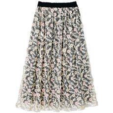 【ぽっちゃりさんサイズ】花柄刺しゅうチュールロングスカート