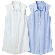 【ぽっちゃりさんサイズ】ノースリーブチュニックシャツ