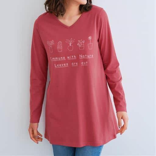 【ぽっちゃりさんサイズ】ロング丈Vネック長袖プリントTシャツ(綿100%)