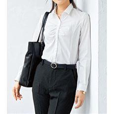 形態安定胸元ギャザーシャツ(長袖)(抗菌防臭・UVカット・洗濯機OK)