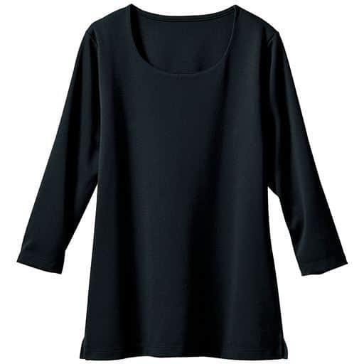 透けにくいクルーネックプルオーバー(7分袖)(洗濯機OK)
