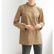 スタンドフリル襟シャツ(洗濯機OK)