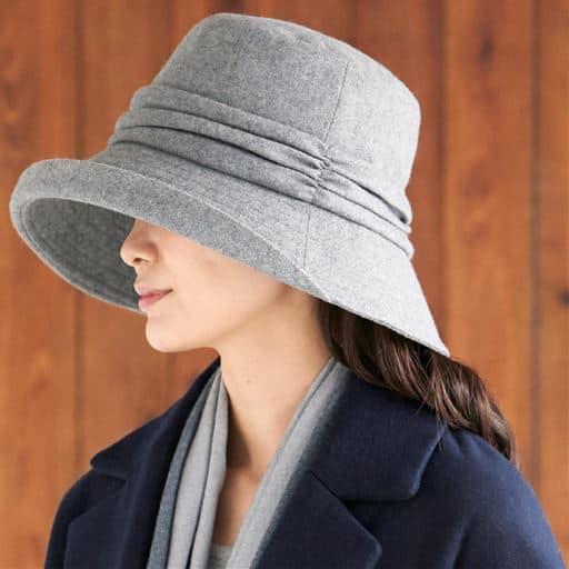 小顔に見える発熱蓄熱暖かUVギャザー帽子<美活計画>