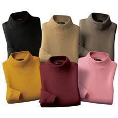 カシミヤタッチ衿すかしセーター