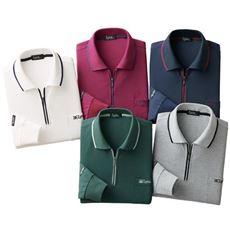 リンクス着脱簡単ジップ配色長袖ポロシャツ(色違い5枚組)