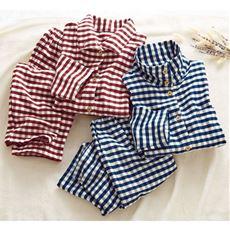 綿毛布先染ハイネックパジャマ(洗濯に強い)