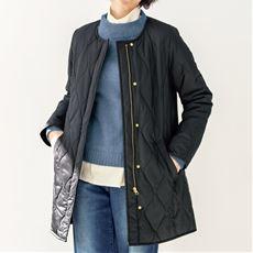 吸湿発熱中わたキルトコート(洗濯機OK)/ミドル丈キルティングコート
