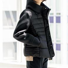 ダウン切り替えジャケット/異素材使い
