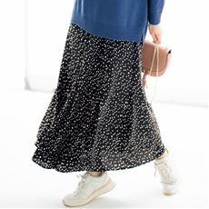 ランダムドットプリント ロングスカート