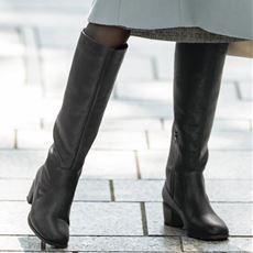 滑りにくいスクエアトゥロングブーツ(防水・防滑・はっ水・しなやかソール)