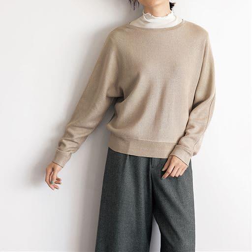 2点セット(ラメニットプルオーバー+メローネックシアーTシャツ)