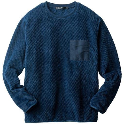 変形編み起毛カットソー素材の切替デザインクルーネックプルオーバー