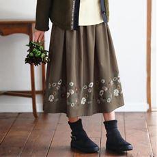 【ぽっちゃりさんサイズ】刺しゅうスカート