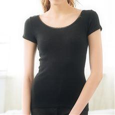 脇に縫い目がない綿混フレンチ袖(温度変化に反応する素材を使用)