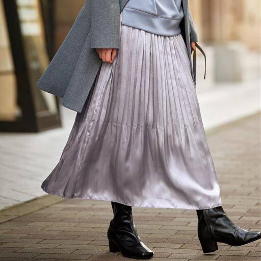 【ぽっちゃりさんサイズ】サテンプリーツスカート
