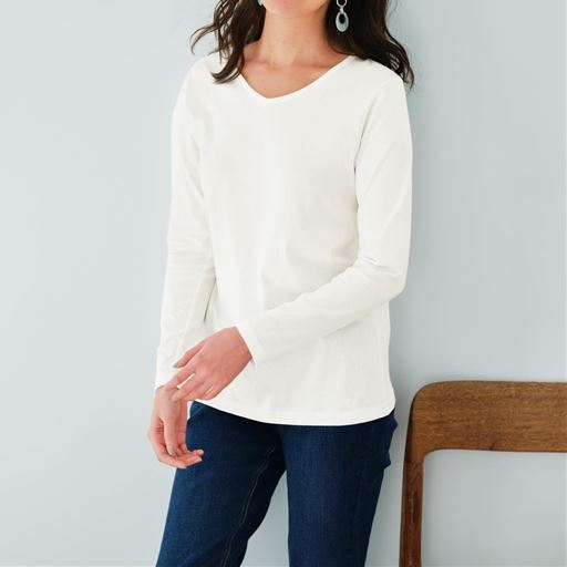 【ぽっちゃりさんサイズ】シンプルVネックTシャツ(長袖・綿100%・L~10L)