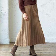 微光沢サテンプリーツロングスカート