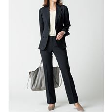 パンツスーツ(テーラードジャケット+ストレートパンツ)(事務服・洗濯機OK)