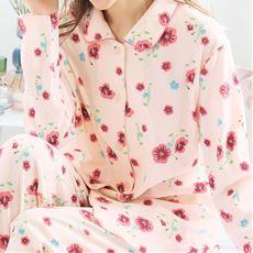 綿100%スムースの前開きパジャマ
