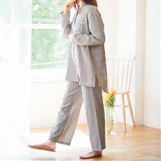 ダブルガーゼのロングシャツパジャマ(綿100%)