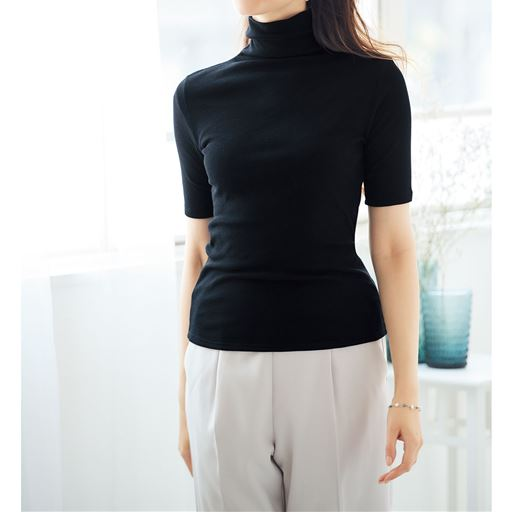 タートルネック5分袖(綿100% ソフトシフォンの贅沢カットソー)