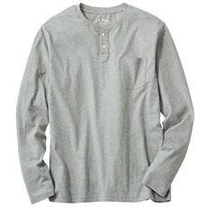 綿100%ヘンリーネックTシャツ(長袖)オーガニックコットンを100%使用