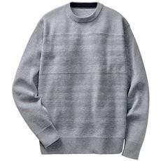 おうちで洗える、地柄編みニットセーター