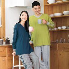 綿100%VネックTタイプパジャマ(男女兼用)