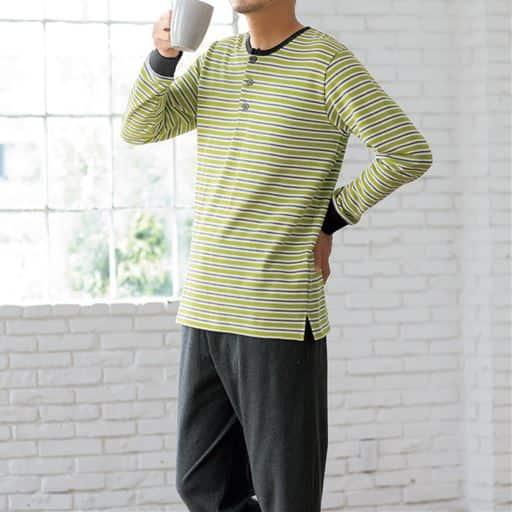 綿100%裏毛ヘンリーネックパジャマ(男女兼用)