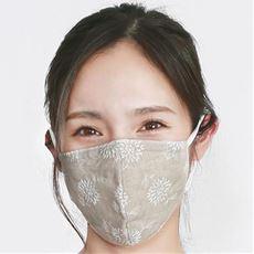 ファブリックケアマスク フラワー刺繍リネン