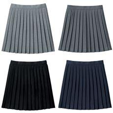 裏地・アジャスター付き プリーツスカート(日本製)(防しわ)(単色)(スクール・制服)