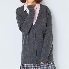 PLAYBOY bunny 毛混Vネックニットカーディガン(スクール・制服)