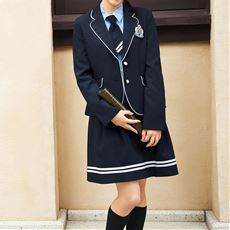 マリン風スーツ5点セット(ジャケット+シャツ+スカート+エンブレム+ネクタイ)(スクール・制服)