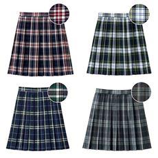 裏地・アジャスター付きプリーツスカート(日本製・チェック柄)(防しわ)(スクール・制服)