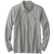 綿100%ポロシャツ(長袖)しっかり編地の鹿の子素材を使用