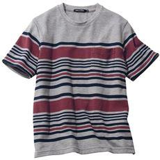 ドライ・リップル素材パネルボーダー柄Tシャツ