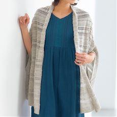 綿混の透かし編みポンチョカーデ