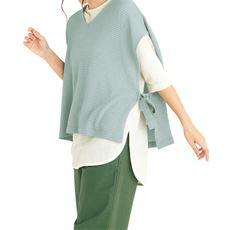 【ネット限定】Vネック脇リボンベスト&裾ラウンドTシャツ