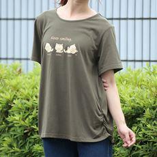 【ネット限定】猫プリント裾シャーリングTシャツ