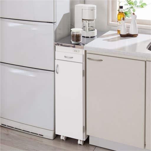 シンクサイド収納/コンセント付き収納棚 スライドテーブル キャスター付き