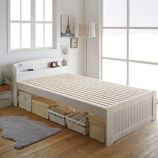 すのこベッド(棚付き)/高さ3段階調整・2口コンセント付き
