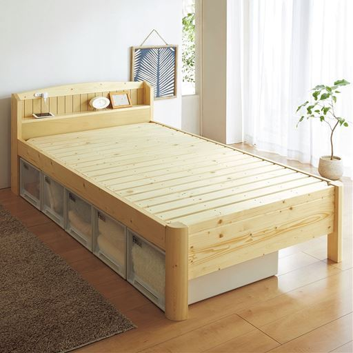 頑丈すのこベッド(棚付き)/高さ3段階調整・2口コンセント付き